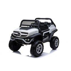 Elektromos Kisautó Mercedes Unimog Fehér, 4x4, 12V / 14Ah, EVA kerekek, széles 2 üléses, 2,4 GHz távirányító, 4 X MOTOR, USB, Bluetooth