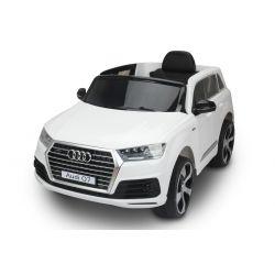 Elektromos kisautó Audi Q7, Eredeti Liszensz, 2,4 GHz távirányító, Nyitható ajtók, Bőr ülés, EVA kerekek, Fehér, 12V,  2 X MOTOR