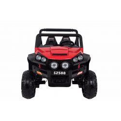 Elektromos Kisautó gyerekeknek RSX 2x12V, 4 Kerék Meghajtás, piros, EVA Kerék, széles 2 személyes bőr ülés, 2,4 GHz távirányító, 4 X MOTOR, FM Radio, Bluetooth